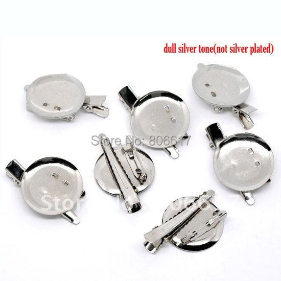 Best Quality 20 Pcs Silver Tone Prong Clip Brooches W/Pin Needle Findings Jewelry Making 45x30mm(W01073)