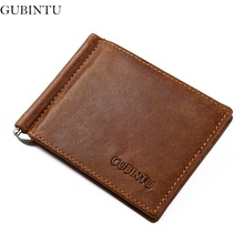GUBINTU Genuine Leather Money Clip Men Stainless Steel Clips For Money European Brand Coffee Wallet Clamps-- BID181 PM49(China (Mainland))