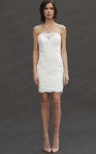Free Shipping 2014 Newest Style Sheath Strapless Backless Knee Length Sexy Short Wedding Dresses With Appliques MD158(China (Mainland))