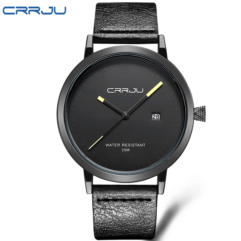 Top Brand CRRJU Men Watches Men s Quartz Hour Date Clock Male Leather Sports Watch Casual
