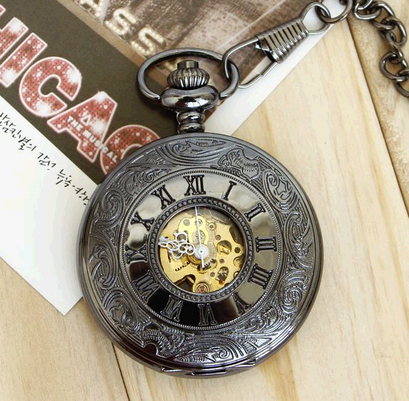 Antique Roman numerals FOB chain mechanical Men pocket watches fashion clock gift wholesale(China (Mainland))