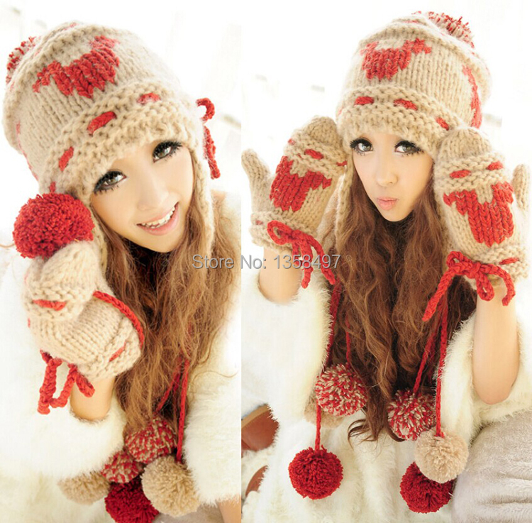 2014 New Women's Plush Winter Sets With Hat Gloves Christmas milu deer Warm Woolen Yarn Knitted bomber hats ski ear protect(China (Mainland))