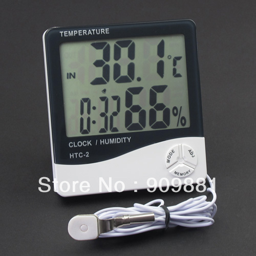 Brand NEW 3in1 Scientific LCD temperature Humidity Monitor Meter and Alarm Clock HTC-2 Freeshipping(China (Mainland))