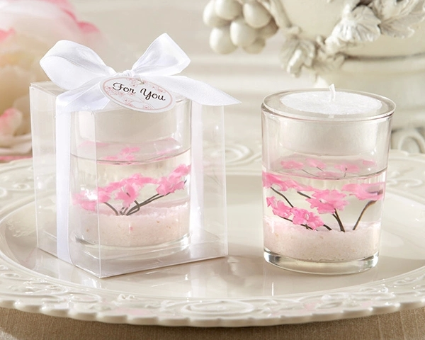 gel wax candles sakura flower home decor wedding candles birthday candles wedding gift free shipping(China (Mainland))