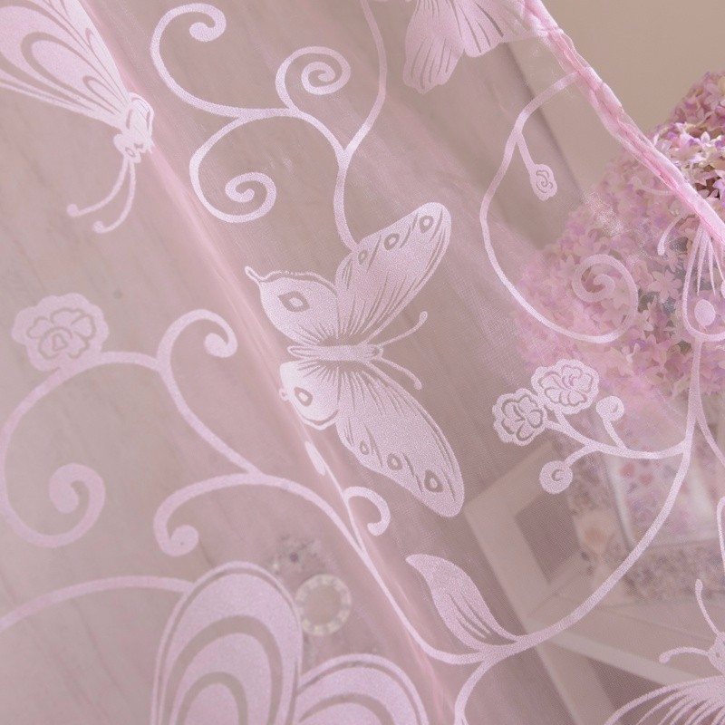 51b7eae436b12f Newest 95 200 CM Romantic Pink Flocking Butterfly Gauze Curtain Screens For  The Living Room - us417