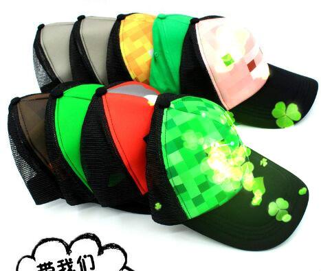 6 colors big Kids Creeper Sun Hats Hot sale Cartoon ball caps youth Minecraft hats Caps