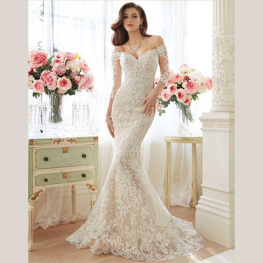 Buy 2015 elegant white lace wedding for No lace wedding dress