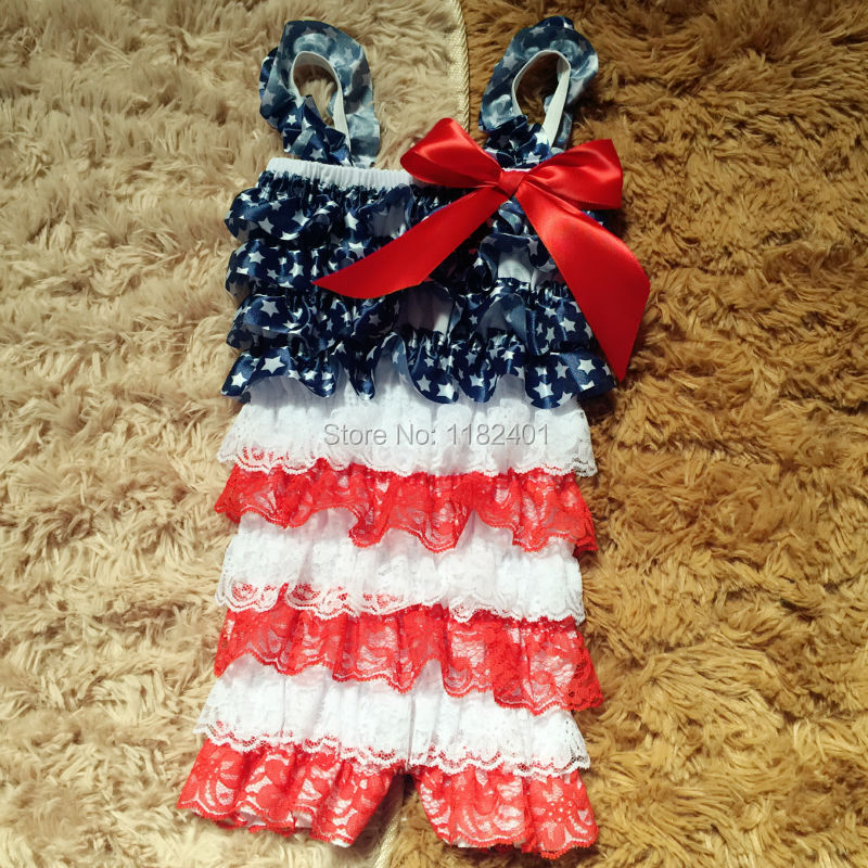 Baby 4th July Romper Patriotic Day Outfit Infant Girl Rompers Girls Lace 2016 Clothing 2 - Fancy E-Commerce Firm store