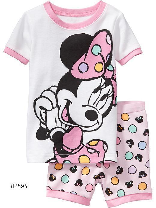 FREE SHIPPING 2015 New Summer Kids Clothes Baby Girls Clothing Short Sleeve Costume Cotton Pajamas Children