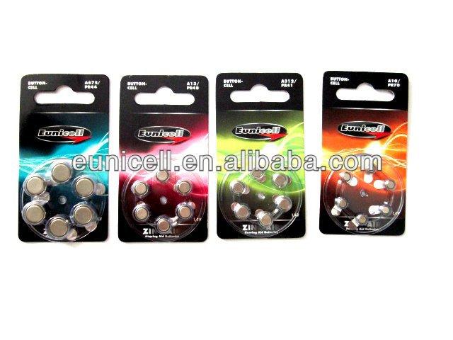 1000 packs (each 250packs A10, A312, A13, A675) 1.4V Zinc Air battery for hearing aid Free shipping(China (Mainland))