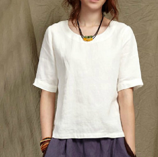 2015 new casual japanese clothes white blouse linen three for Womens linen shirts blouses