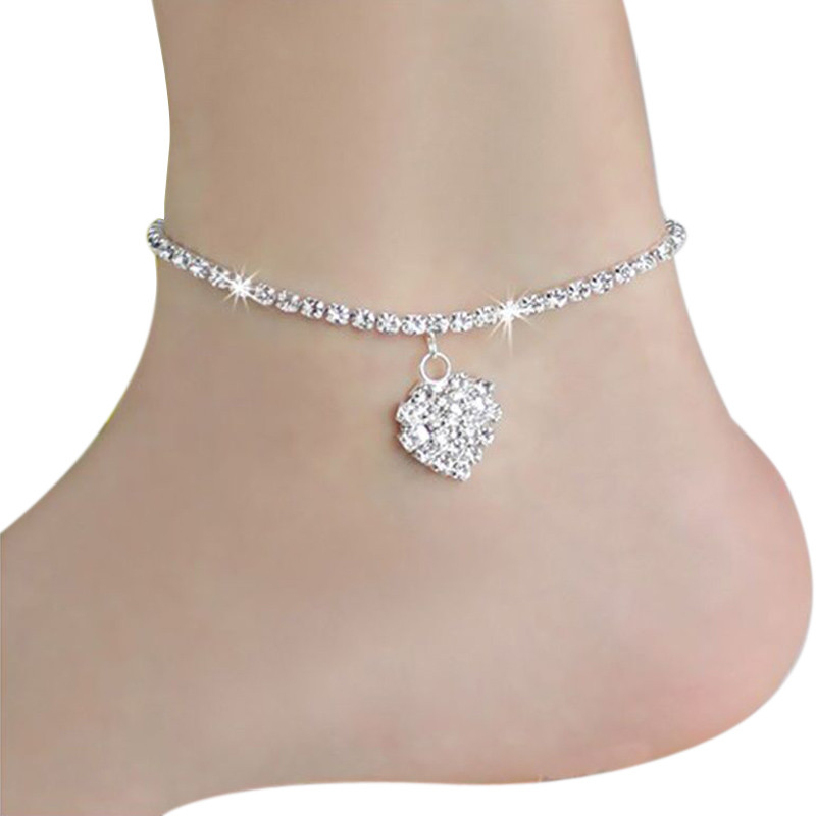 Best Deal New Arrival Women Beach <font><b>Anklets</b></font> Heart Crystal Rhinestone Ankle Chains Foot Jewelry <font><b>Anklets</b></font> Foot Chain Jewelry Gift 1PC