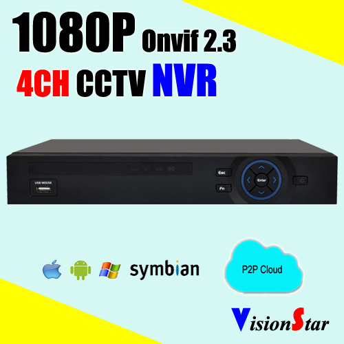 4CH ONVIF2.3 NVR 1080P Full Real time recording RJ45 network Mobile view P2P icloud standalone surveillance video recorder(China (Mainland))
