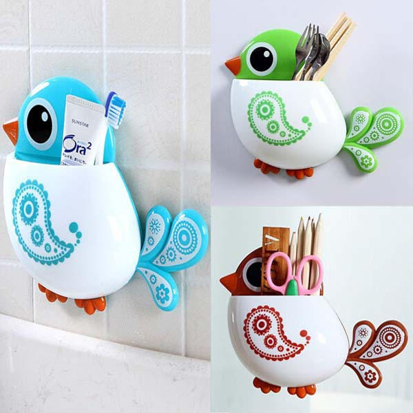 Lovely Funny Attractive Bird Pattern Toothbrush Sucker Holders Stand Bathroom plastic box caixa organizadora box to storage(China (Mainland))