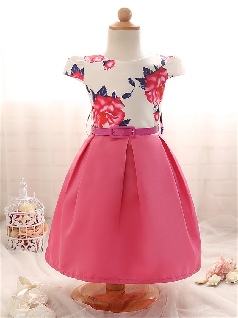 Top Quality Girls Formal Dresses Toddler Baby Girls Clothes Princess Party Teens Designer Print Flower Dress Child Girl Costume(China (Mainland))