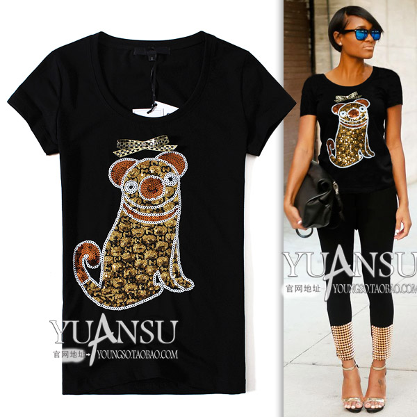 Yuansu Store new arrival Animal Bow 2015 summer fashion paillette boarhound slim women's short-sleeve T-shirt black white(China (Mainland))
