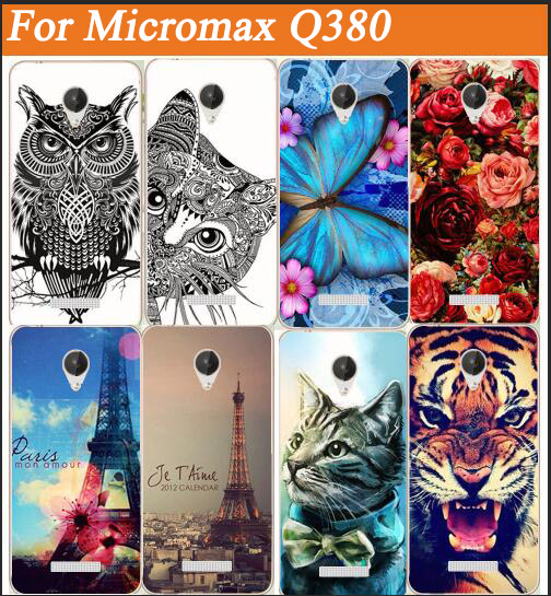 For Micromax Canvas Spark Q380 Case Cover, 14 Patterns Colored Painting soft tpu Case FOR Micromax Q380 Protective Back Case(China (Mainland))