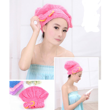 1PCS Useful Absorbent Towel Microfiber Hair Turban Quickly Dry Hair Hat Wrapped Cap Towel Female Bathing Accessories(China (Mainland))