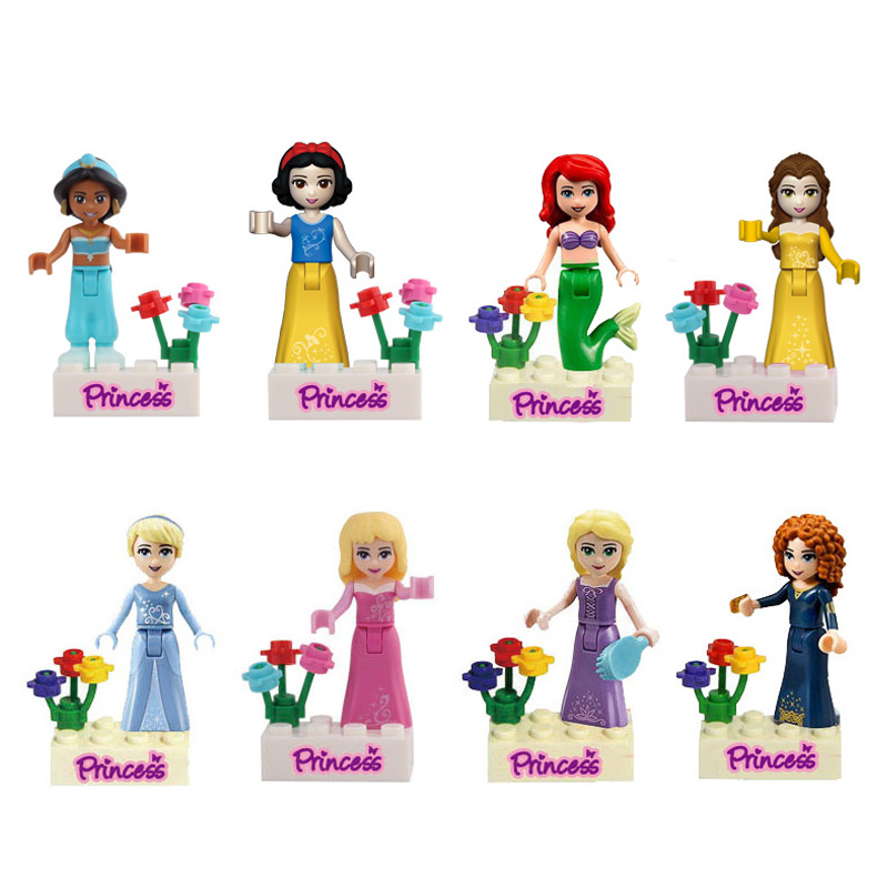 8pcs Fairy Tale Frozenned Princess Girl Friends Model Building Doll Minifigures Bricks Blocks Kid Toy Gifts Compatible With Lego(China (Mainland))