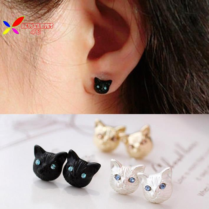 2015 new fashion girls vintage designer gold white black realistic lovely cat head ear stud earrings for women brinco de meninas(China (Mainland))