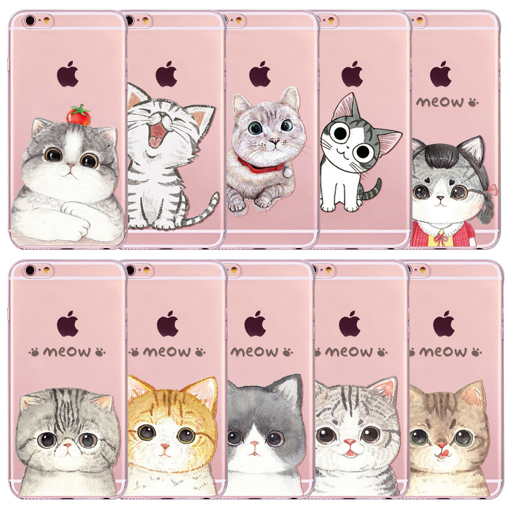 "Cute Meow Cat Case For iPhone 6 6s Plus 4.7"" 5.5"" Clear Soft Silicone TPU Cell Phone Covers Animal Funda Capa 2016 Hot Selling(China (Mainland))"