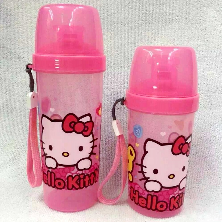 HelloKitty cartoon trumpet straight drink cups with lids for children, plastic water bottle portable travel necessary(China (Mainland))