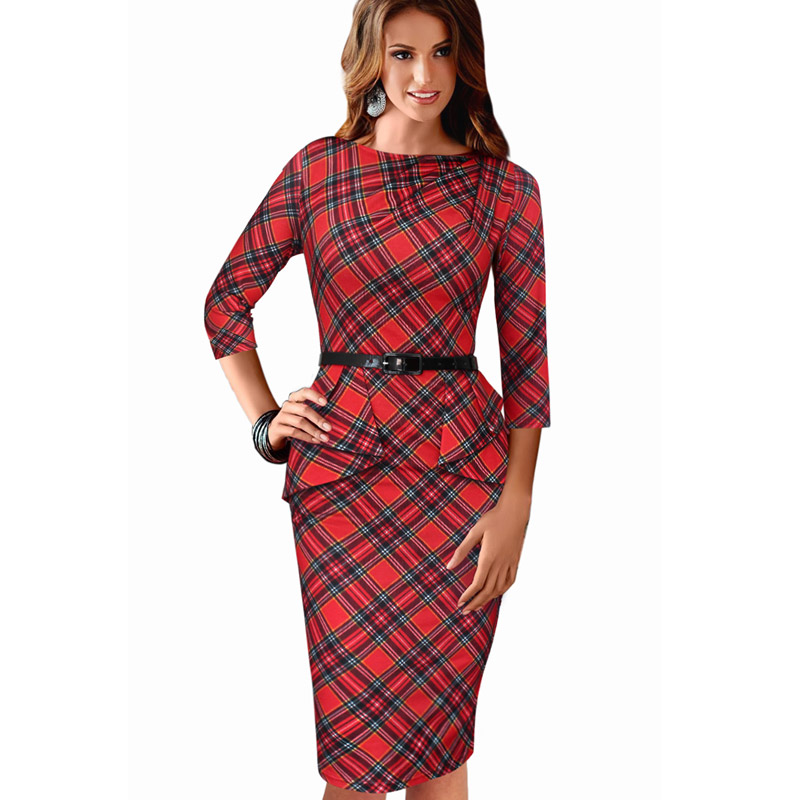 New Womens Dress Vintage Elegant font b Tartan b font Peplum Ruched Tunic Work Party Cap