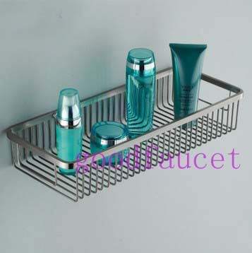 NEW Hot Sale Wholesale And retail Bathroom Stainless Steel Basket Wall Mounted Square Chrome Bath Storage Holders & Racks(China (Mainland))