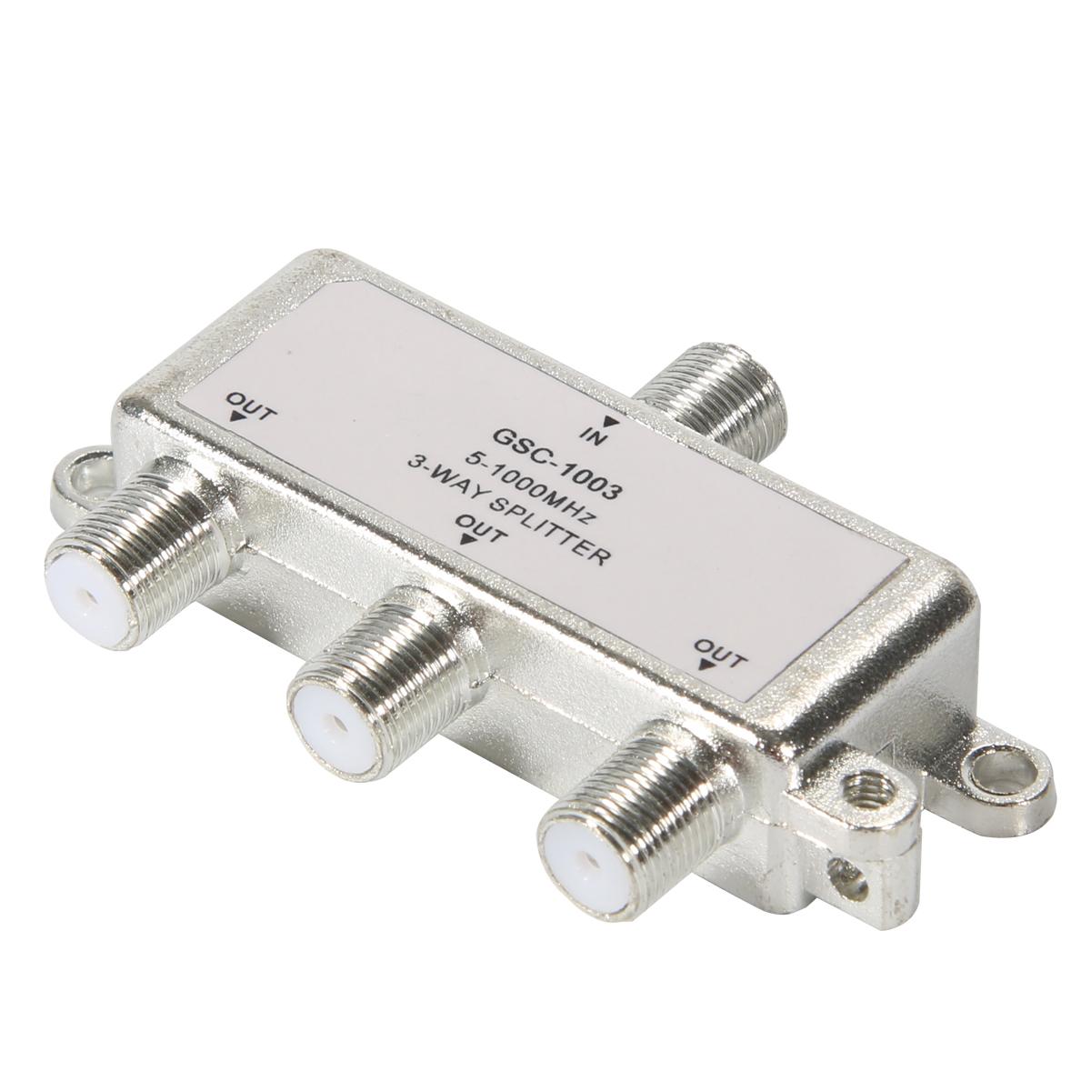3 Way HDTV TV Aerial Splitter Antenna Cable 5-1000 MHz F Type Splitter BI127(China (Mainland))