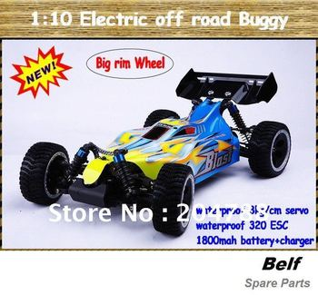 High quality 1/10 Ni-mH Battery Powered 4WD rc Buggy car (Big rim wheels+waterproof equipments+ RTR version)