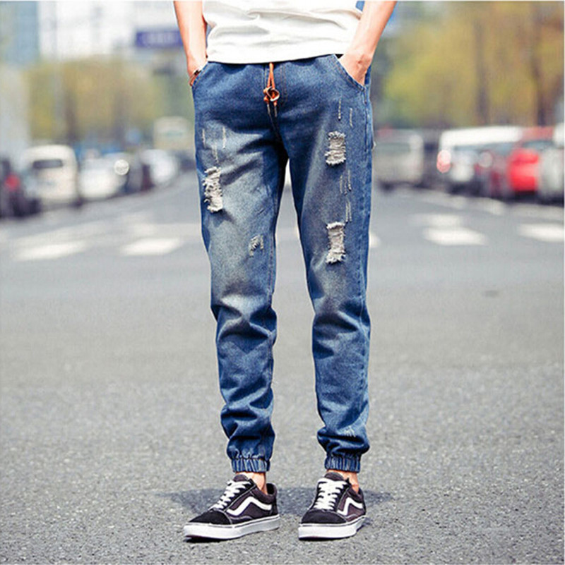 new high quality cowboy haroun pants men's cultivate one's morality beam foot hole worn jeans leisure beam foot Long pants(China (Mainland))