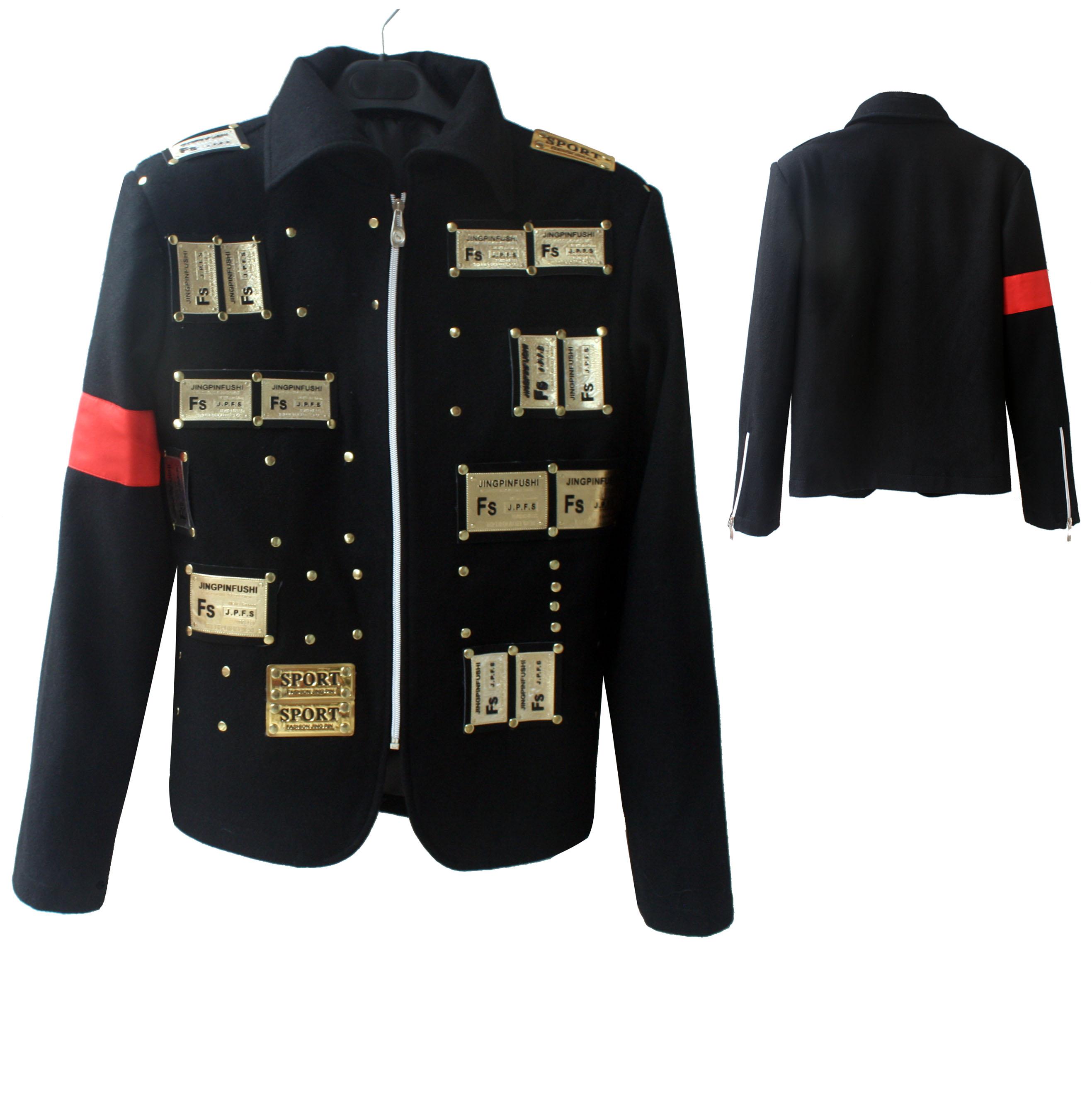 Rare MJ Michael Jackson Black Charity Pepsi Ad Punk Rivet Retro England woolen Jacket Outwear(China (Mainland))