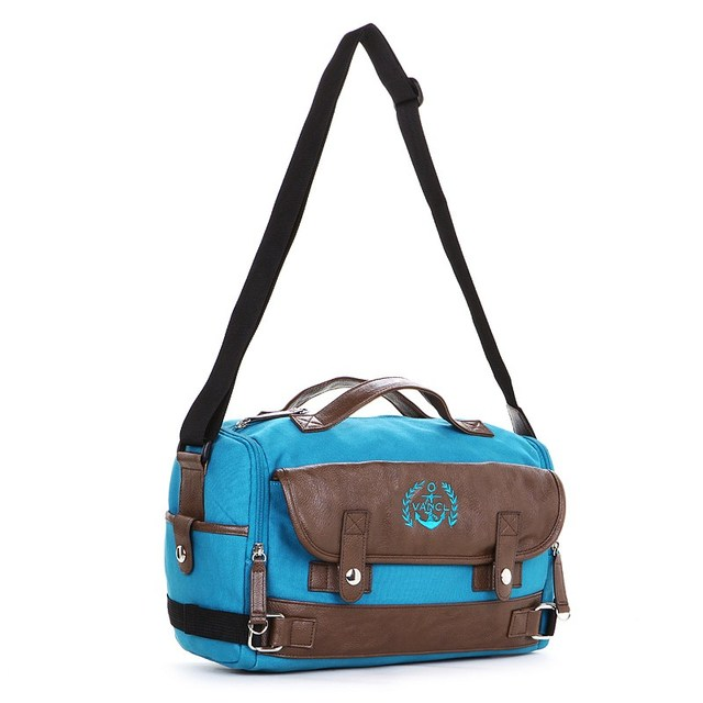 2013 New Arrival VANCL America Color Block Shoulder Flap Front Pocket With Dual Snap Button Unisex Bag Blue/Red FREE SHIPPING
