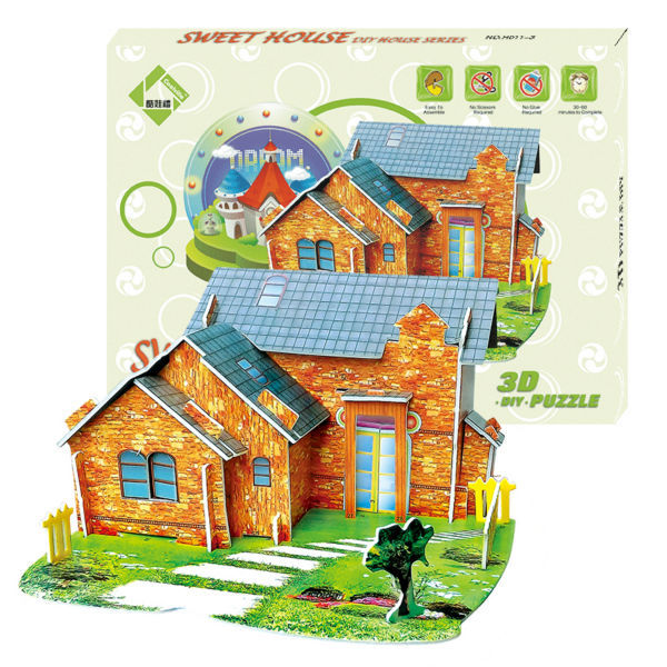 new clever&amp;happy land 3d puzzle model Sweet House Of Leer adult drawings model games for children paper learning &amp; education<br><br>Aliexpress
