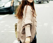 fall winter shrug coat batwing sleeve knitted cardigan loose shawl female women ladies coares wool thicken long sweater(China (Mainland))