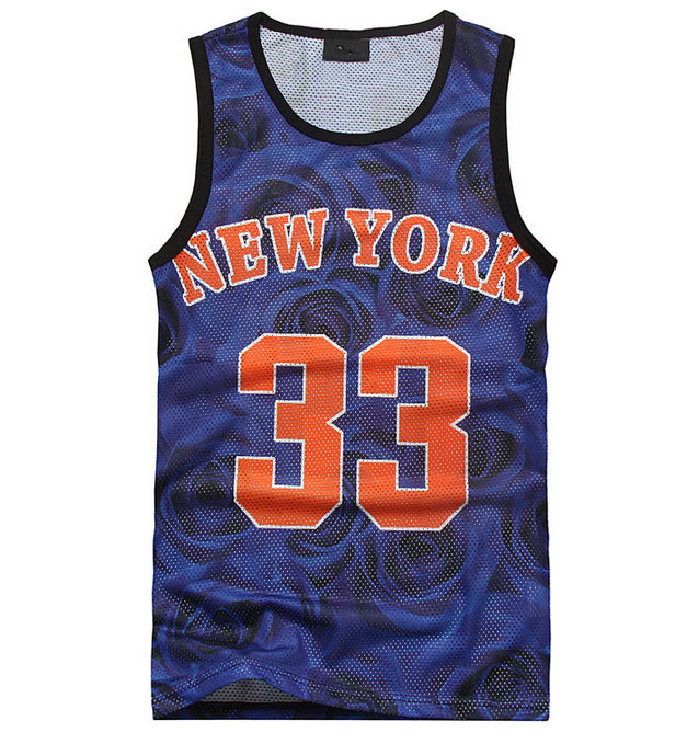 New fashion men's manga 3d tank top blue floral print vest top NEW YORK 33 basketball jersey casual shirt Free shipping(China (Mainland))