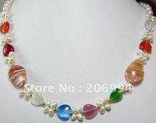 fashion jewelry Beautiful jade Freshwater pearl Necklace fashion Jewelry free shipping #024(China (Mainland))