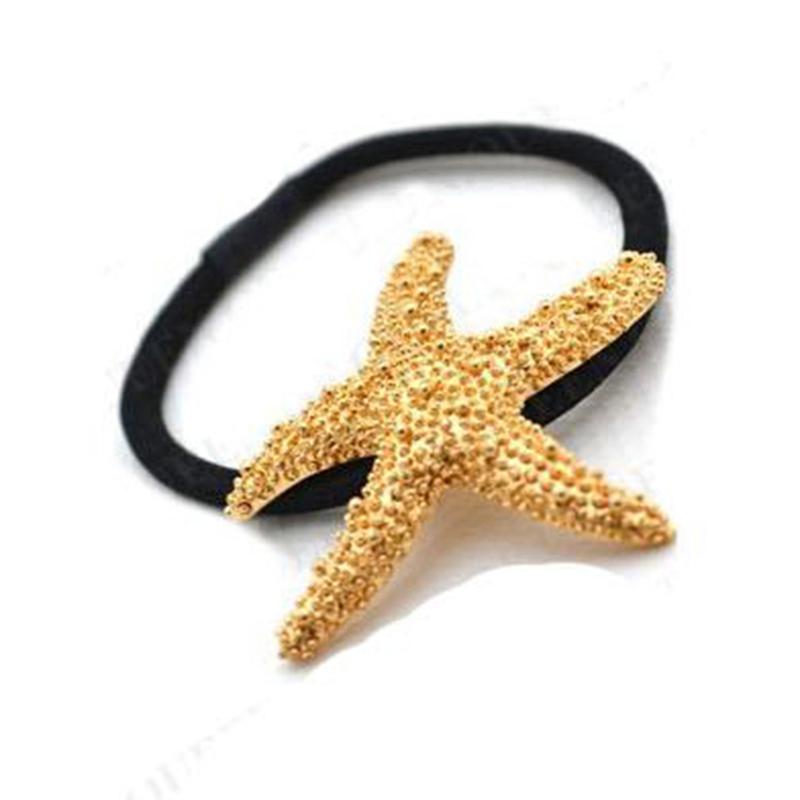 Korean Fashion Nylon Circle Ring Hair Band Ponytail Holder Black Starfish Gold Plated for Women Hair Jewelry 1F2015097(China (Mainland))