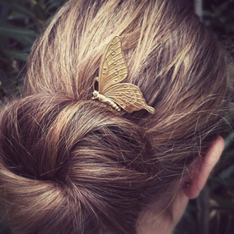 Retro Women Metal Butterfly Hair Combs Fashion Elegant Insect Shaped Hair Accessories(China (Mainland))