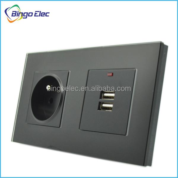 Europe wall socket with dual USB,black glass panel wall socket and USB, free shipping(China (Mainland))