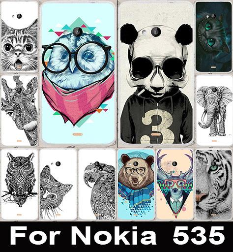 Cool Animal Cat Owl Giraffe Elephant Painted Phone Cases Hard Back Cover Case For Microsoft Nokia Lumia 535 Phone Bags Skin(China (Mainland))