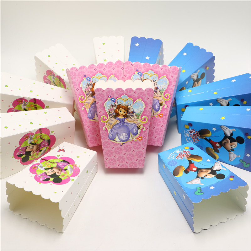 20PCS/lot hello kitty minions cartoon Popcorn Box Gift Box Favor Birthday Party Supplies Kids goody Boxes Favor Party bag(China (Mainland))