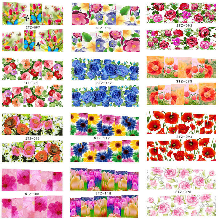 50 sheets Water Transfer Nails Art Sticker Flowers Design Full Cover Nail Wraps Decals Manicure Decoration Tools #STZ086-133(China (Mainland))