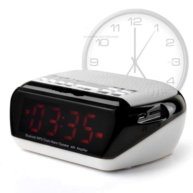 Mini Portable Dual Alarm Clock Speaker Bluetooth Stereo Speaker LCD Digital FM Radio Wireless Computer Speaker altavoz bluetooth(China (Mainland))