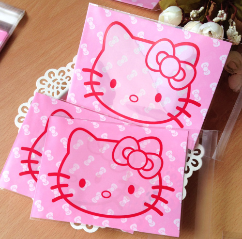 100pcs/lot bowknot pink hello kitty plastic bags 10x13cm food self sealing bags cookie bags and packaging free shipping(China (Mainland))