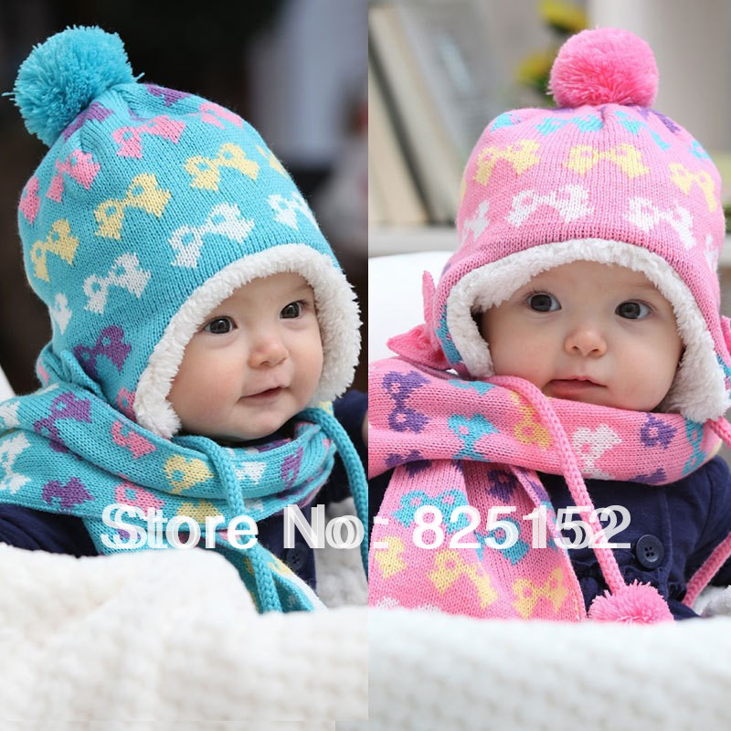 2PCS Blue Pink Newborn Boy Girl Baby Unisex Kids Toddler Infant Winter Bowknot Xmas Cap Hats Beanie+Scarf Sets 6Months-3Years(China (Mainland))