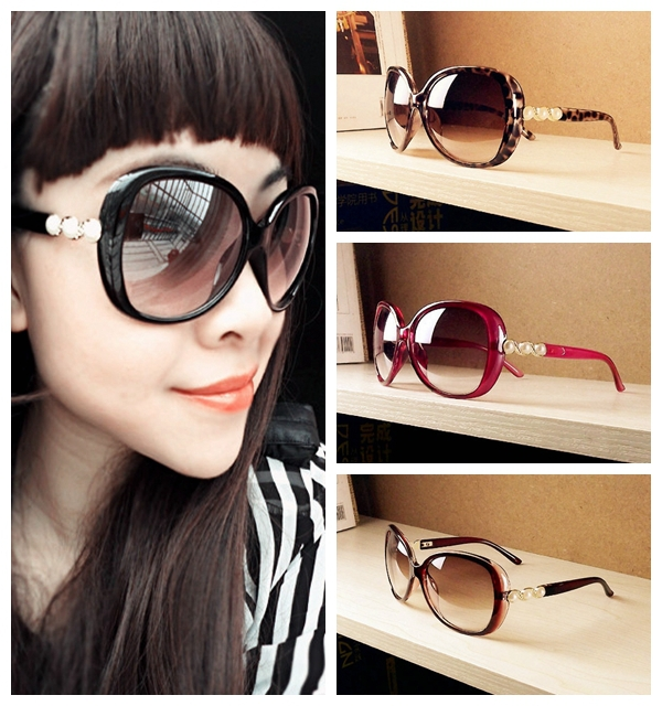 Wholesale Fashion Pearl Style Over size Womens Sunglasses New Vintage Lady's Leisure Eyewear + Free shipping(China (Mainland))