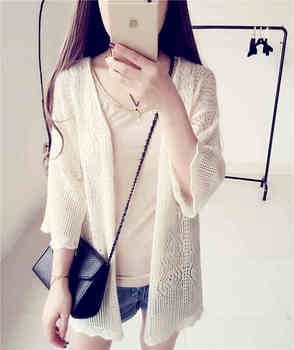 2016 autumn women's long cardigans sweater slim thin hollow out cardigan sweater casual pure color cardigan free shipping