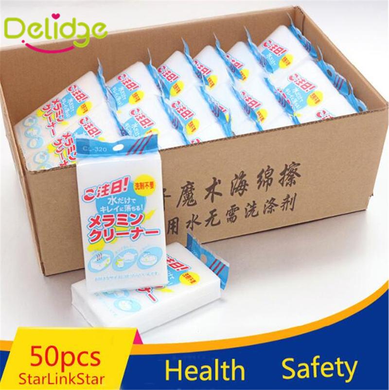 50 pcs/Lot White Magic Cleaning Sponge Eco-Friendly Multi-function Magic Melamine Eraser Cleaner For Kitchen Car House Bathroom(China (Mainland))