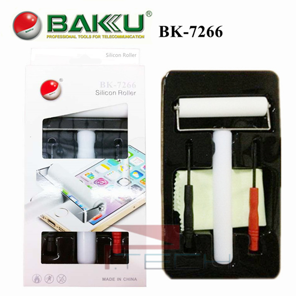 70mm BAKU BK-7266 Anti-static Silicon Roller DIY Screen Protector Manual Cleaner Tool for iPhone Smart Phone with Screwdrivers
